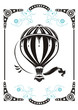 Steampunk style frame and vintage  hot air balloon - 49229924