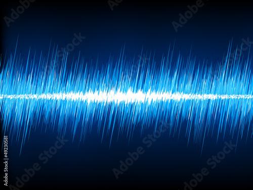 Sound waves oscillating on black background. EPS 8