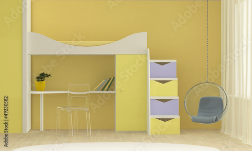 bright interior of the playroom