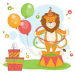 Vector illustration of  lion playing hula hoop.