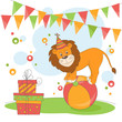 Vector illustration of  lion and garland of flags