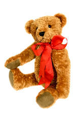 Fuzzy Brown Teddy Bear with Large Red Bow