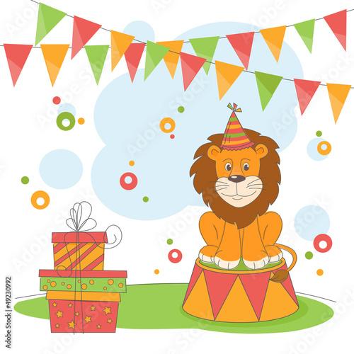Happy Birthday. Vector illustration of  lion
