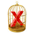 Birdcage with X rated symbol inside