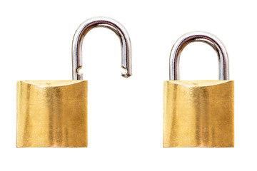 Two Brass Padlocks - Open and Closed (Isolated)