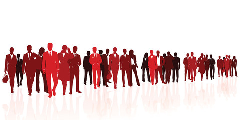 Business team red silhouettes