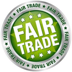 """Button """"Fair Trade"""" Green/Silver"""
