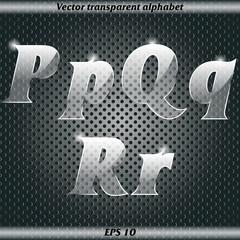 Transparent alphabet. P, Q, R.