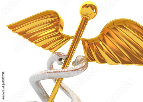 Abstract medical background with golden caduceus medical symbol