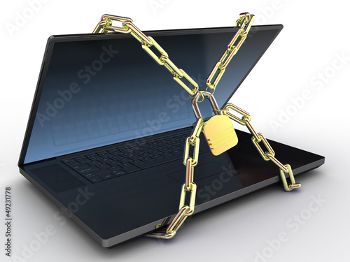 Laptop with chains and lock on white isolated background. 3d