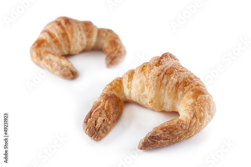 Butter croissants isolated