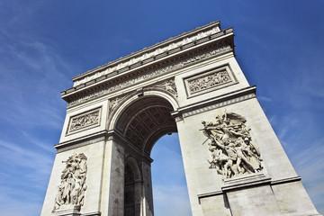 Wealthy ornate Arce de Triomphe against blue sky
