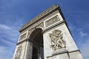 The world famous Arce de Triomphe against blue sky