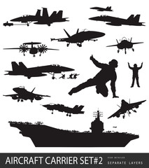 Naval aircrafts high detailed vector silhouettes. Set #2.