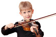 boy play violin portrait on white