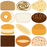 Vector Icons of different kinds of Bread