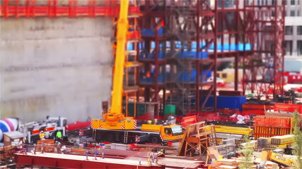 Tilt Shift Construction Area One Time Lapse