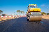 Road roller during asphalt paving works