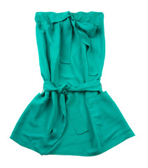 Green strapless belted pocketed dress