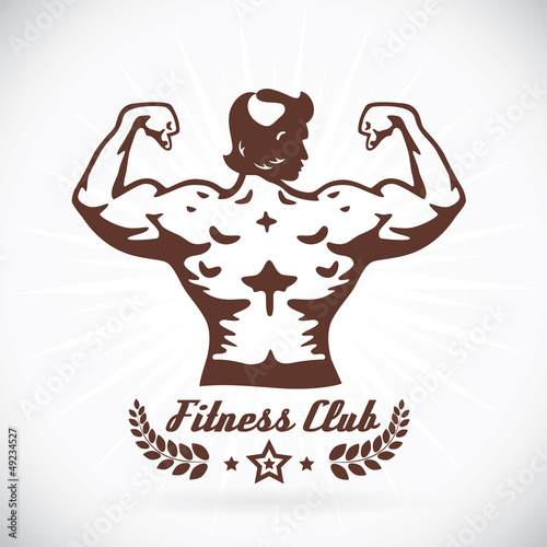 Bodybuilder Fitness Model Illustration, Sign, Symbol