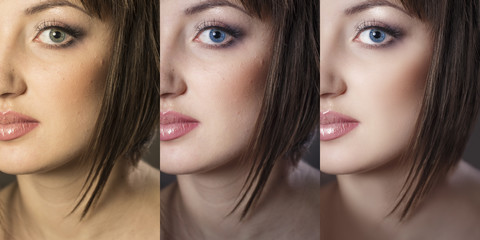 Girl's face close up in 3 options: the original, after color cor