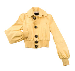 Yellow leather jacket with big bone buttons