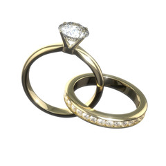 Diamond wedding rings - isolated with clipping path