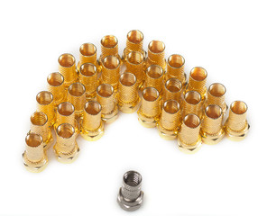 Golden F connectors and one silver connector
