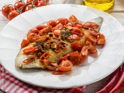 sole fish with tomato anchovy and hot chili pepper