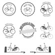 Set of rent a bike labels, badges and design elements