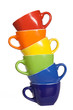 Set of colorful cups.