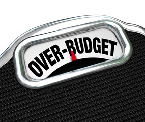 Over-Budget Words on Scale Financial Trouble Debt Deficit