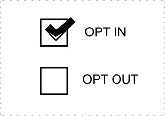 opt in and out options on white paper background