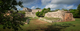 Panoramic view of the ruins of the Mayan pyramids in Uxmal