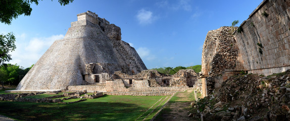 Magician pyramid in the Maya city of Uxmal, Yucatan