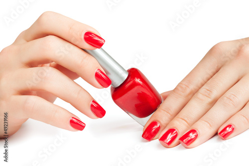 manicure. applying nail polish. isolated