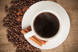 cup of aromatic coffee with cinnamon and anise poster