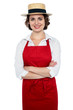 Smiling caucasian woman as restaurant chef