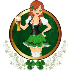 Girl with glass of beer feast of St. Patrick