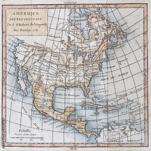 Original antique north America map