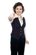 Woman in formals pointing forward