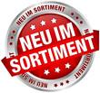 """Button Banner """"Neu im Sortiment"""" rot/silber"""