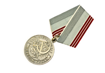 Soviet medal on white background