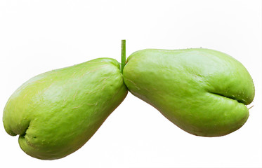 twin chayote fruit isolated on white background
