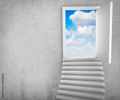 Stairs and magic doors leading to a cloudscape