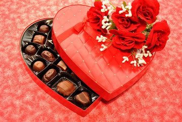 Valentine's Candy with Red Roses