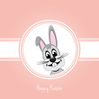happy easter gray bunny on pink background