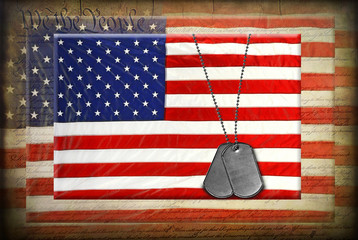 military dog tags on flag