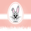 happy easter bunny white egg pink background