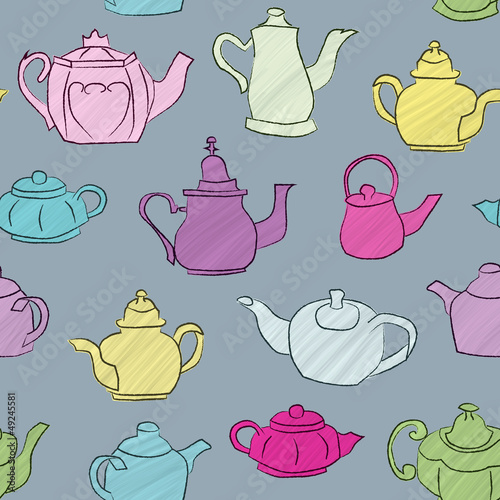 Seamless background with hand drawn chalk outlined teapots.